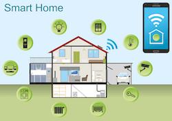 Darstellung einer Smart Home Alarmanlage im Haus